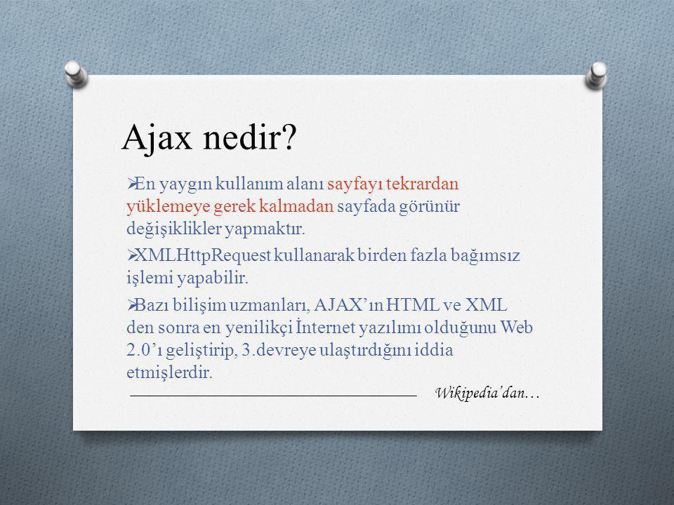 Ajax nedir?  En yaygın kullanım alanı sayfayı tekrardan yüklemeye gerek kalmadan sayfada görünür değişiklikler yapmaktır.  XMLHttpRequest kullanarak