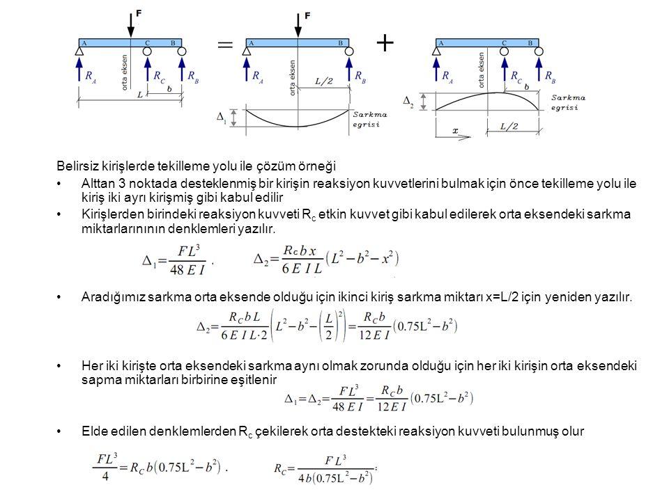 Belirsiz kirişlerde tekilleme yolu ile çözüm örneği •Alttan 3 noktada desteklenmiş bir kirişin reaksiyon kuvvetlerini bulmak için önce tekilleme yolu
