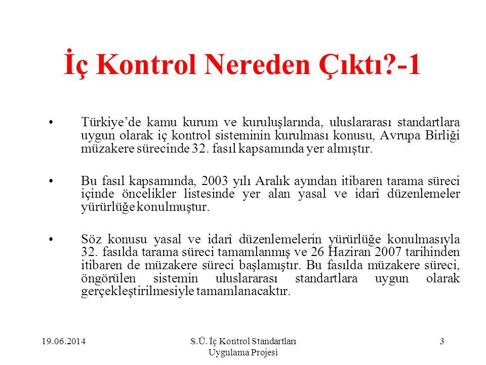C.Kontrol Faaliyetleri Standartları 1.Kontrol stratejileri ve yöntemleri 2.Prosedürlerin belirlenmesi ve belgelendirilmesi 3.Görevler ayrılığı 4.Hiyerarşik kontroller 5.Faaliyetlerin sürekliliği 6.Bilgi sistemleri kontrolleri 19.06.201444S.Ü.