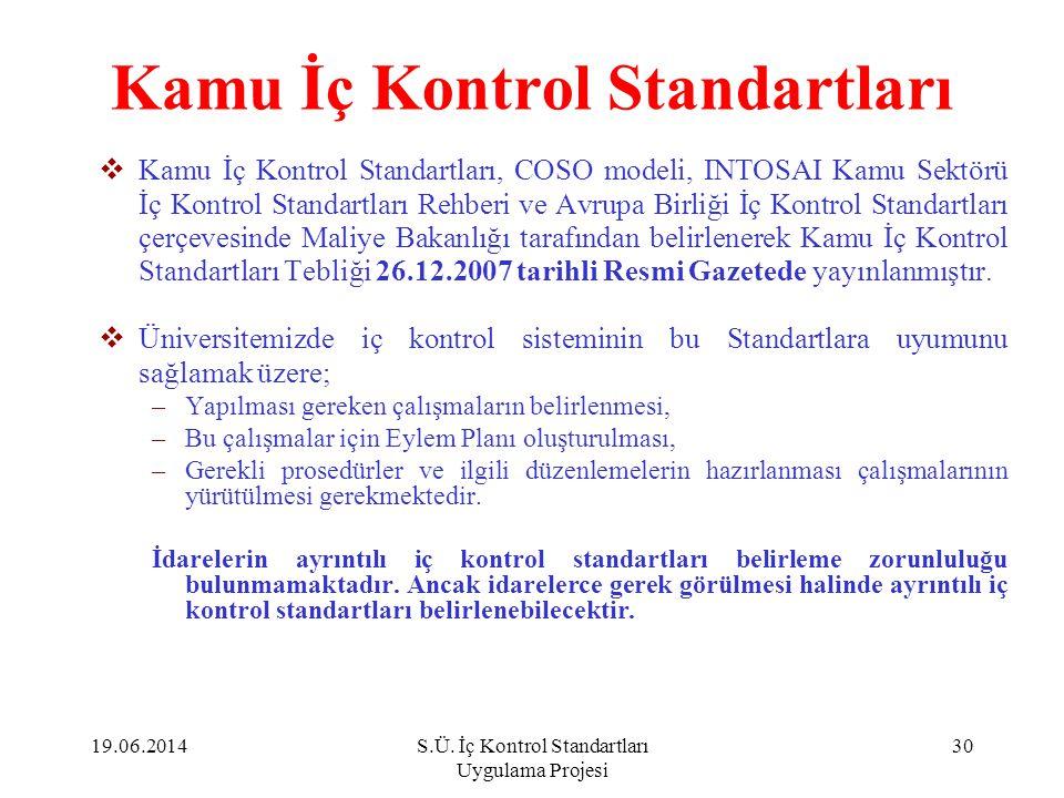 Kamu İç Kontrol Standartları  Kamu İç Kontrol Standartları, COSO modeli, INTOSAI Kamu Sektörü İç Kontrol Standartları Rehberi ve Avrupa Birliği İç Ko