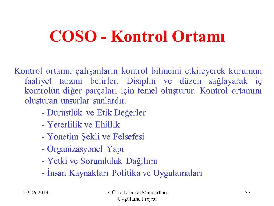 35 COSO - Kontrol Ortamı Kontrol ortamı; çalışanların kontrol bilincini etkileyerek kurumun faaliyet tarzını belirler. Disiplin ve düzen sağlayarak iç
