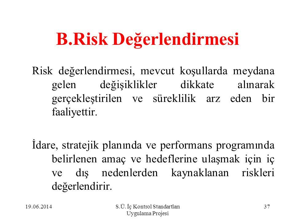 B.Risk Değerlendirmesi Risk değerlendirmesi, mevcut koşullarda meydana gelen değişiklikler dikkate alınarak gerçekleştirilen ve süreklilik arz eden bi