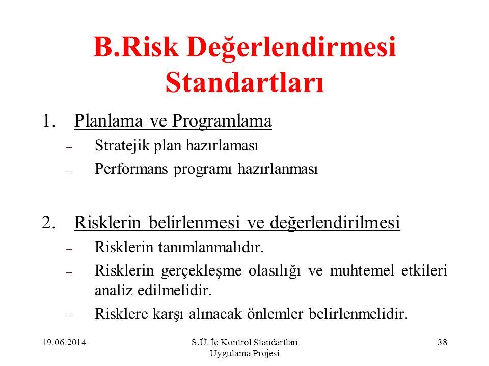 B.Risk Değerlendirmesi Standartları 1.Planlama ve Programlama – Stratejik plan hazırlaması – Performans programı hazırlanması 2.Risklerin belirlenmesi