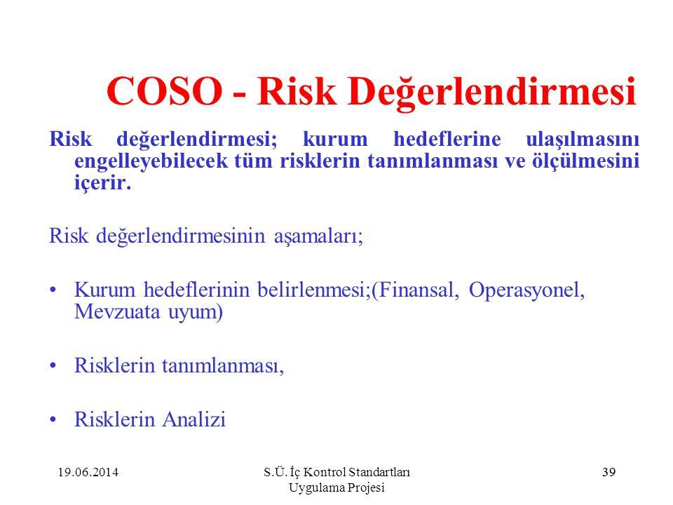 39 COSO - Risk Değerlendirmesi Risk değerlendirmesi; kurum hedeflerine ulaşılmasını engelleyebilecek tüm risklerin tanımlanması ve ölçülmesini içerir.
