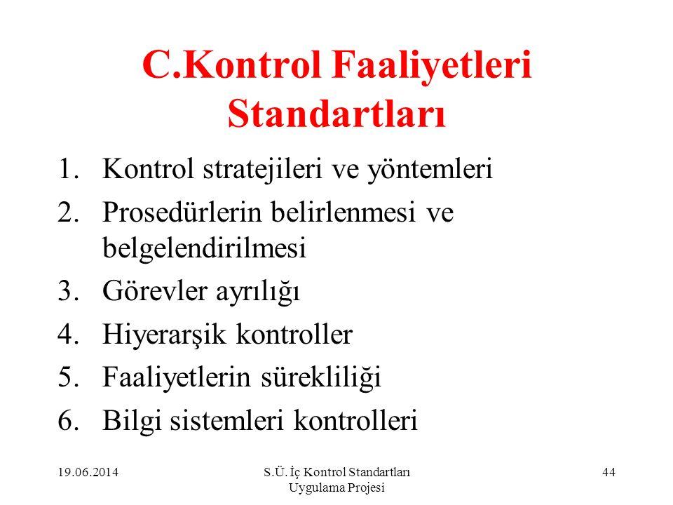C.Kontrol Faaliyetleri Standartları 1.Kontrol stratejileri ve yöntemleri 2.Prosedürlerin belirlenmesi ve belgelendirilmesi 3.Görevler ayrılığı 4.Hiyer
