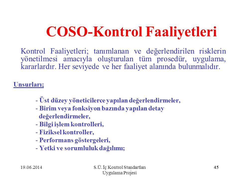 45 COSO-Kontrol Faaliyetleri Kontrol Faaliyetleri; tanımlanan ve değerlendirilen risklerin yönetilmesi amacıyla oluşturulan tüm prosedür, uygulama, ka