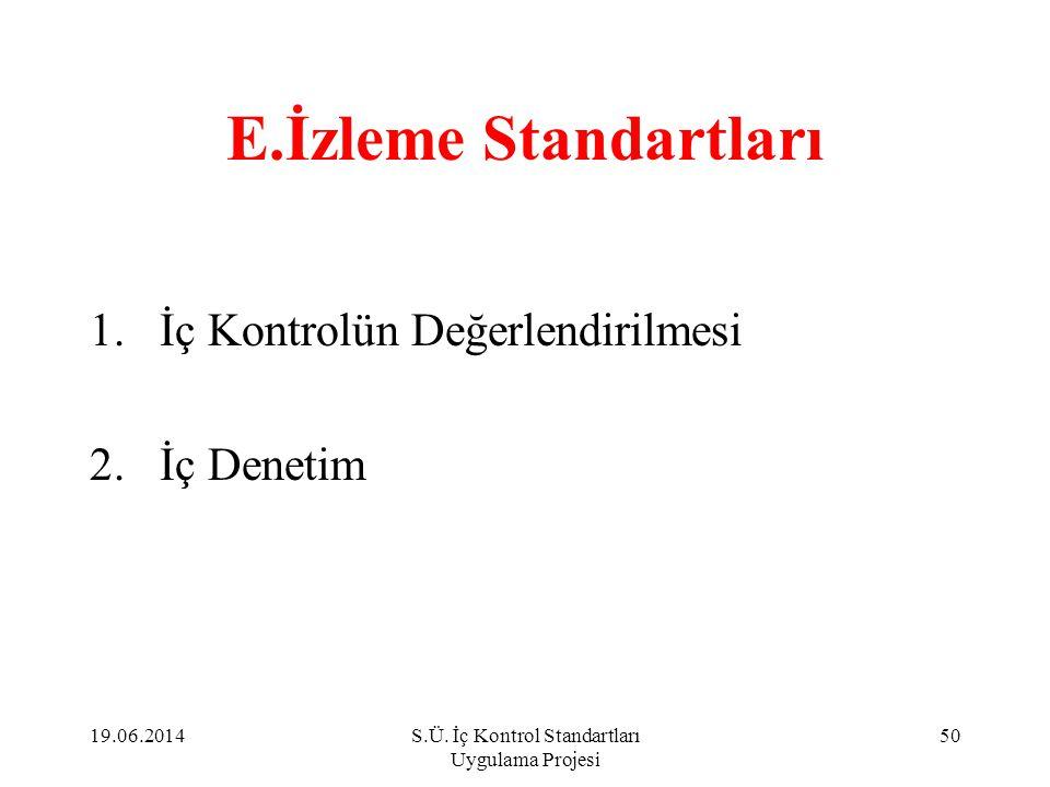 E.İzleme Standartları 1.İç Kontrolün Değerlendirilmesi 2.İç Denetim 19.06.201450S.Ü. İç Kontrol Standartları Uygulama Projesi