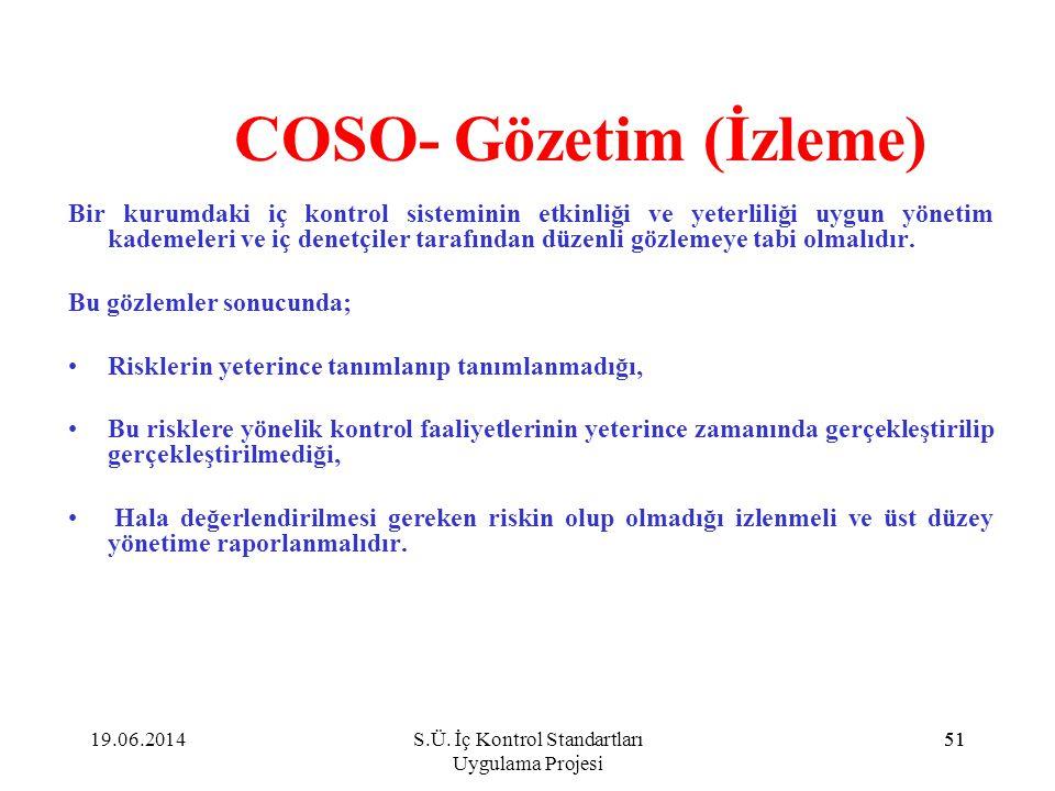 51 COSO- Gözetim (İzleme) Bir kurumdaki iç kontrol sisteminin etkinliği ve yeterliliği uygun yönetim kademeleri ve iç denetçiler tarafından düzenli gö