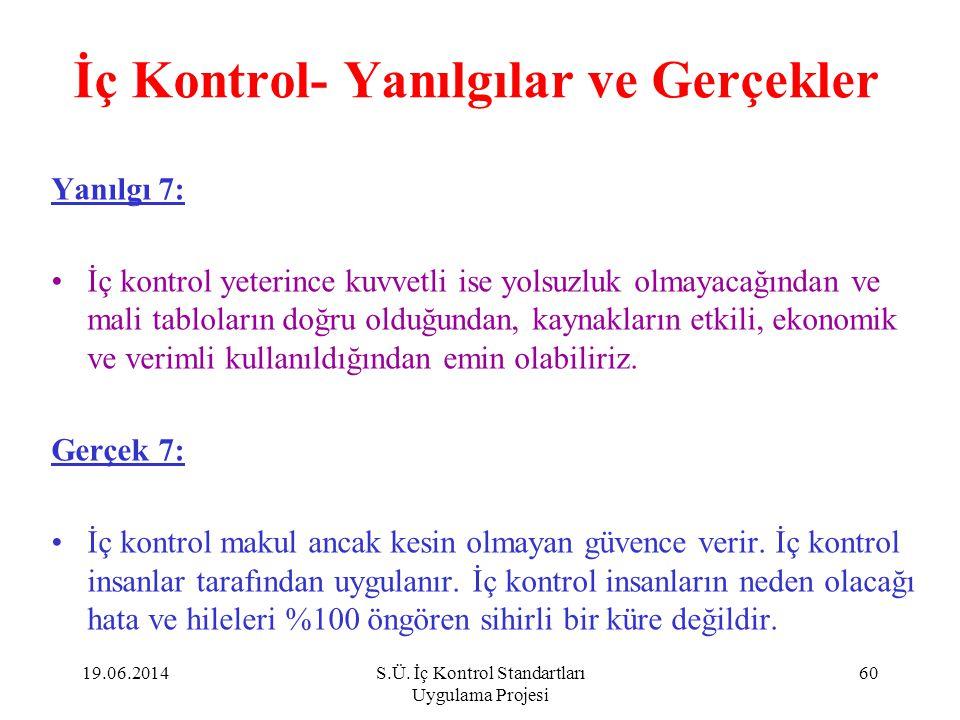 İç Kontrol- Yanılgılar ve Gerçekler Yanılgı 7: •İç kontrol yeterince kuvvetli ise yolsuzluk olmayacağından ve mali tabloların doğru olduğundan, kaynak