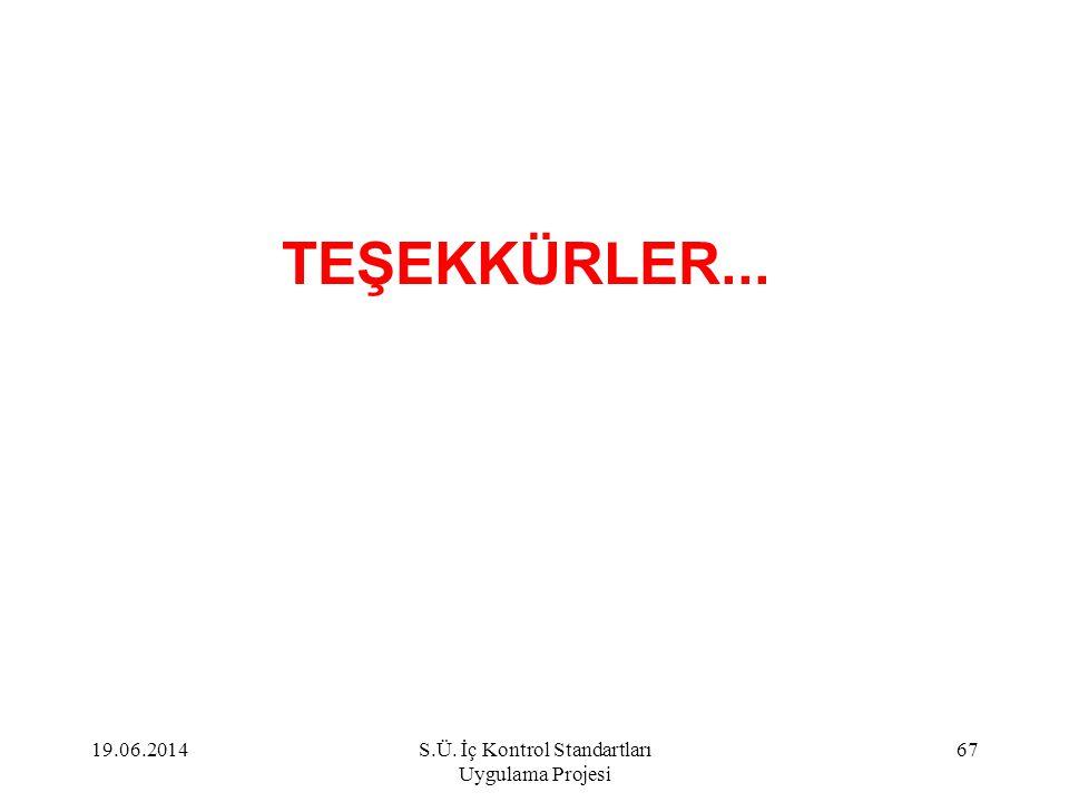 TEŞEKKÜRLER... 19.06.201467S.Ü. İç Kontrol Standartları Uygulama Projesi