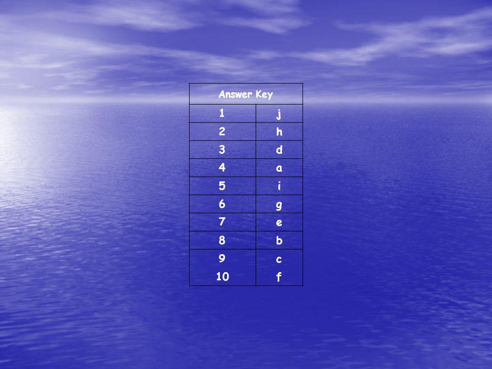 Answer Key 1j 2h 3d 4a 5i 6g 7e 8b 9c 10f