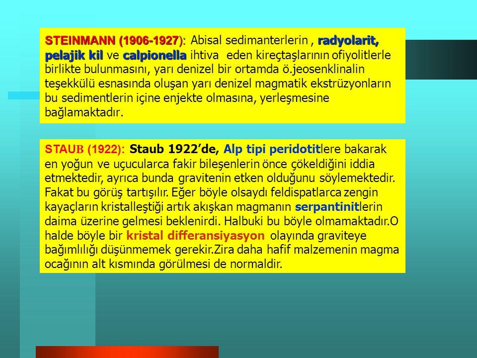 OFİYOLİT ÜZERİNE ÇEŞİTLİ GÖRÜŞ VE BİLGİLER STEINMAN (1927) : Ofiyolit kelimesinin, bir kayaç için kullanımından daha ziyade, başta peridotitler, gabro