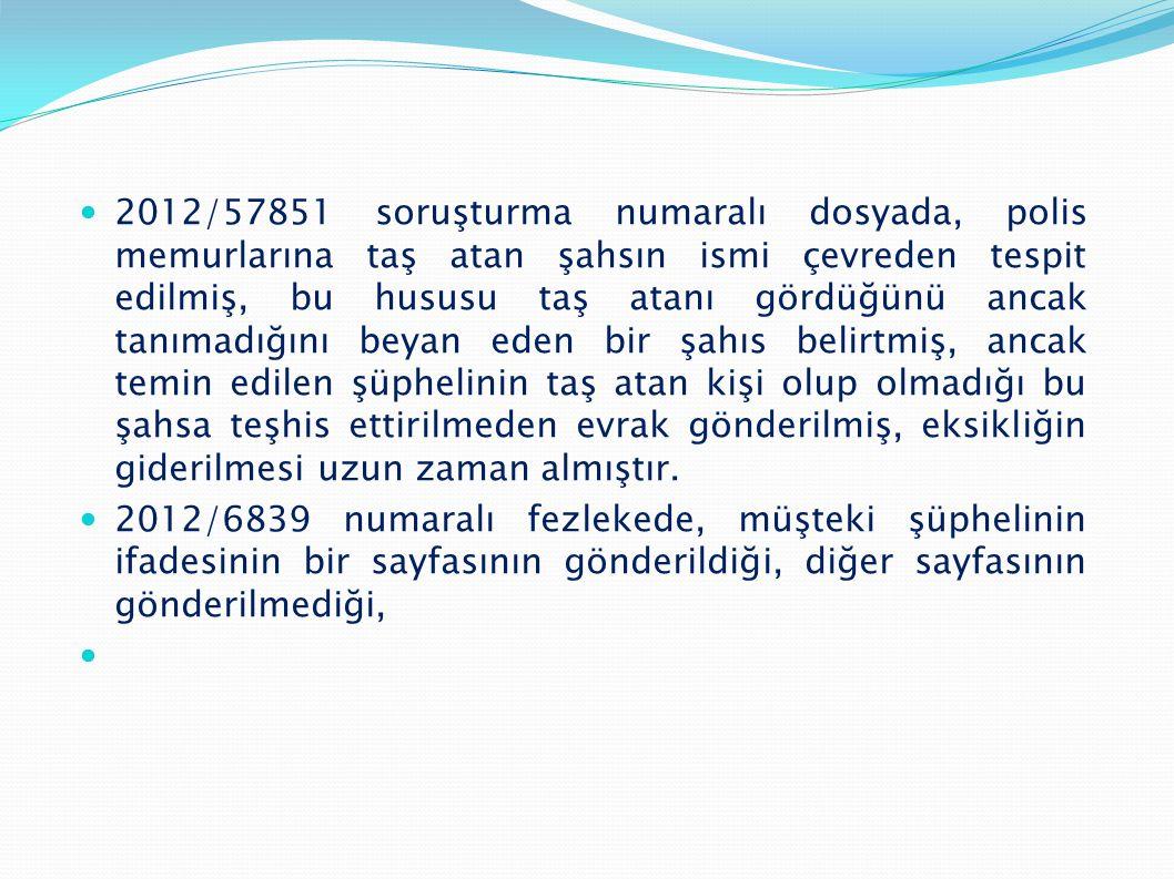  2012/57851 soruşturma numaralı dosyada, polis memurlarına taş atan şahsın ismi çevreden tespit edilmiş, bu hususu taş atanı gördüğünü ancak tanımadı