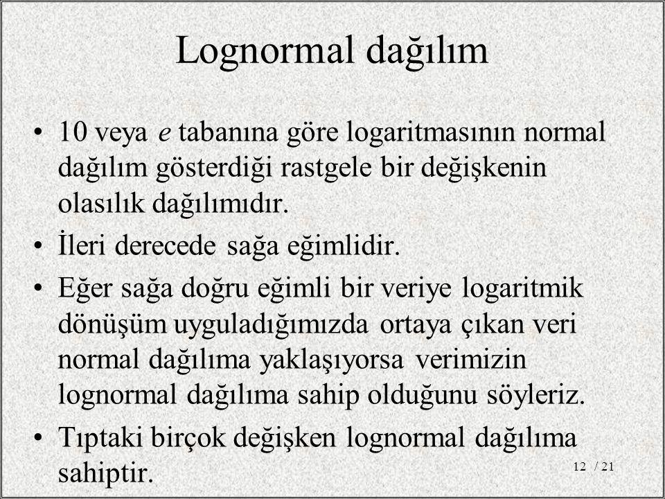Lognormal dağılım •10 veya e tabanına göre logaritmasının normal dağılım gösterdiği rastgele bir değişkenin olasılık dağılımıdır.