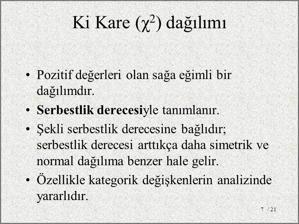 Ki Kare (χ 2 ) dağılımı •Pozitif değerleri olan sağa eğimli bir dağılımdır.
