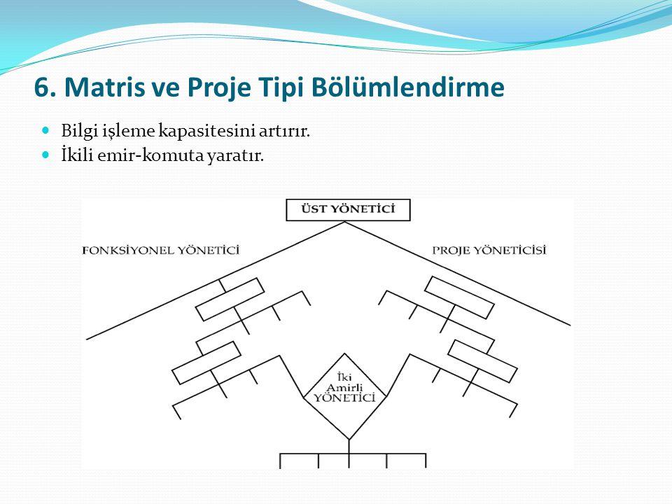 6.Matris ve Proje Tipi Bölümlendirme  Bilgi işleme kapasitesini artırır.