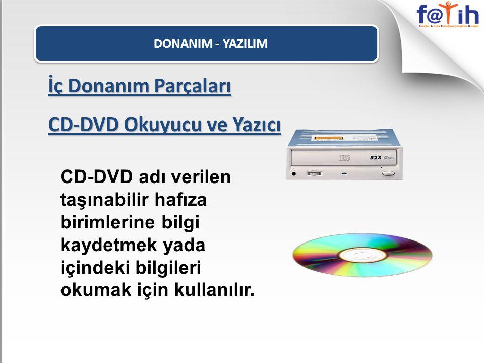 DONANIM - YAZILIM İç Donanım Parçaları CD-DVD Okuyucu ve Yazıcı CD-DVD adı verilen taşınabilir hafıza birimlerine bilgi kaydetmek yada içindeki bilgil