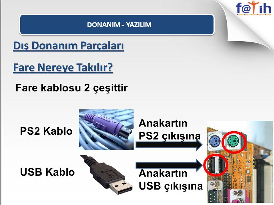 DONANIM - YAZILIM Dış Donanım Parçaları Fare Nereye Takılır? Fare kablosu 2 çeşittir PS2 Kablo USB Kablo Anakartın PS2 çıkışına Anakartın USB çıkışına