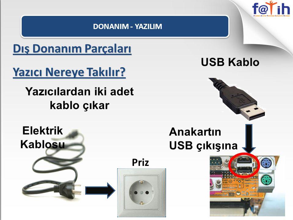 DONANIM - YAZILIM Dış Donanım Parçaları Yazıcı Nereye Takılır? Yazıcılardan iki adet kablo çıkar Elektrik Kablosu Priz USB Kablo Anakartın USB çıkışın