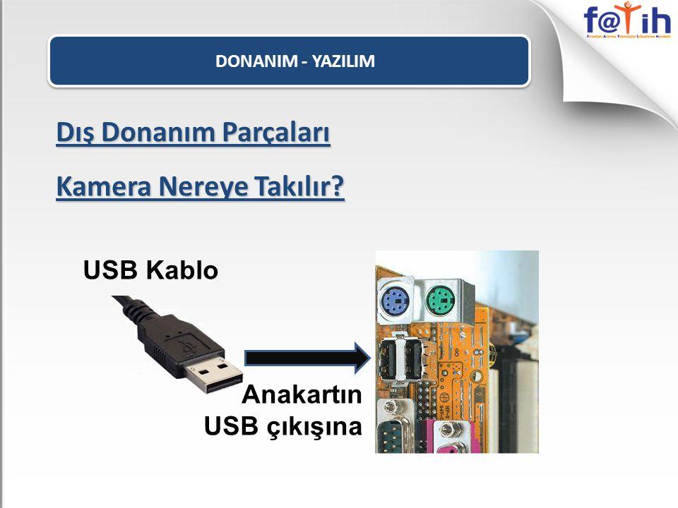 DONANIM - YAZILIM Dış Donanım Parçaları Kamera Nereye Takılır? USB Kablo Anakartın USB çıkışına