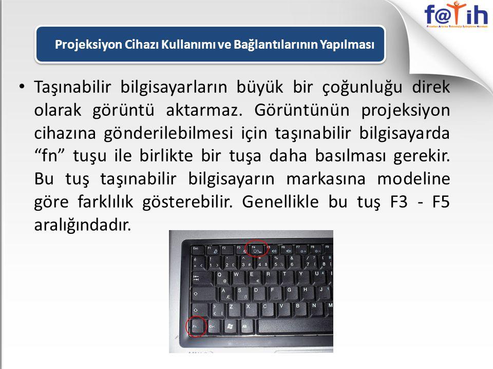 • Taşınabilir bilgisayarların büyük bir çoğunluğu direk olarak görüntü aktarmaz. Görüntünün projeksiyon cihazına gönderilebilmesi için taşınabilir bil
