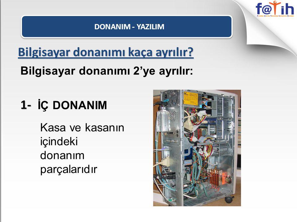 DONANIM - YAZILIM Yazılım Çeşitleri • Sistem Yazılımları: Bilgisayarı yöneten, denetleyen, kontrol eden yazılımlardır.