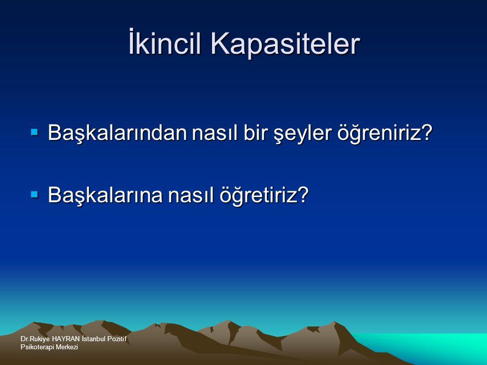 Dr.Rukiye HAYRAN İstanbul Pozitif Psikoterapi Merkezi İkincil Kapasiteler  Başkalarından nasıl bir şeyler öğreniriz.