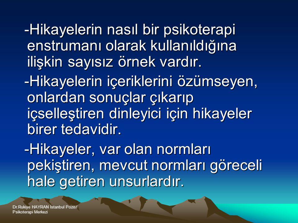 Dr.Rukiye HAYRAN İstanbul Pozitif Psikoterapi Merkezi -Hikayelerin nasıl bir psikoterapi enstrumanı olarak kullanıldığına ilişkin sayısız örnek vardır.