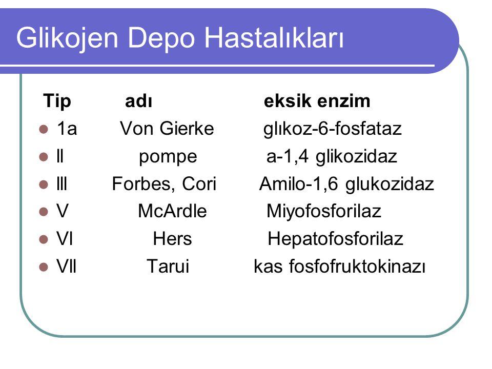 Glikojen Depo Hastalıkları Tip adı eksik enzim  1a Von Gierke glıkoz-6-fosfataz  ll pompe a-1,4 glikozidaz  lll Forbes, Cori Amilo-1,6 glukozidaz  V McArdle Miyofosforilaz  Vl Hers Hepatofosforilaz  Vll Tarui kas fosfofruktokinazı
