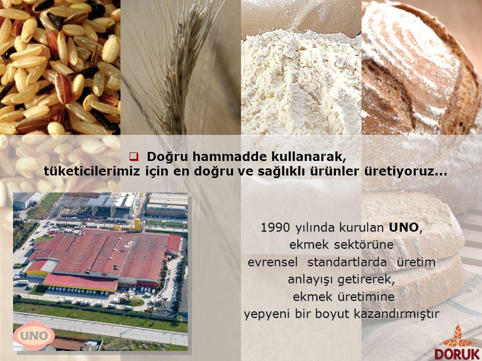  Doğru hammadde kullanarak, tüketicilerimiz için en doğru ve sağlıklı ürünler üretiyoruz... 1990 yılında kurulan, 1990 yılında kurulan UNO, ekmek sek