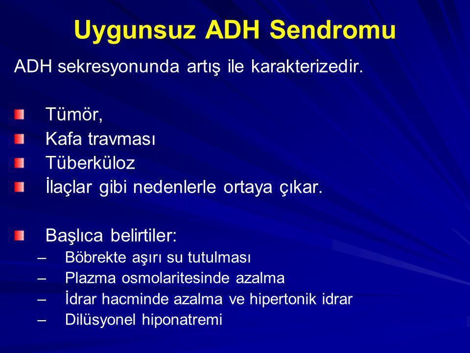 Uygunsuz ADH Sendromu ADH sekresyonunda artış ile karakterizedir. Tümör, Kafa travması Tüberküloz İlaçlar gibi nedenlerle ortaya çıkar. Başlıca belirt