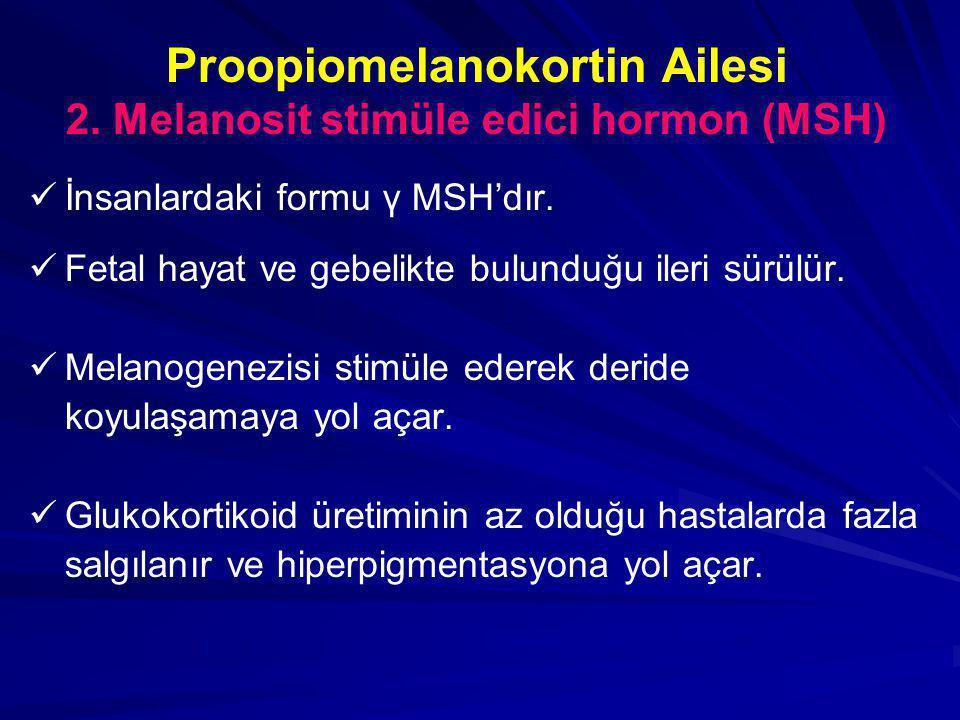 Proopiomelanokortin Ailesi 2. Melanosit stimüle edici hormon (MSH)   İnsanlardaki formu γ MSH'dır.   Fetal hayat ve gebelikte bulunduğu ileri sürü