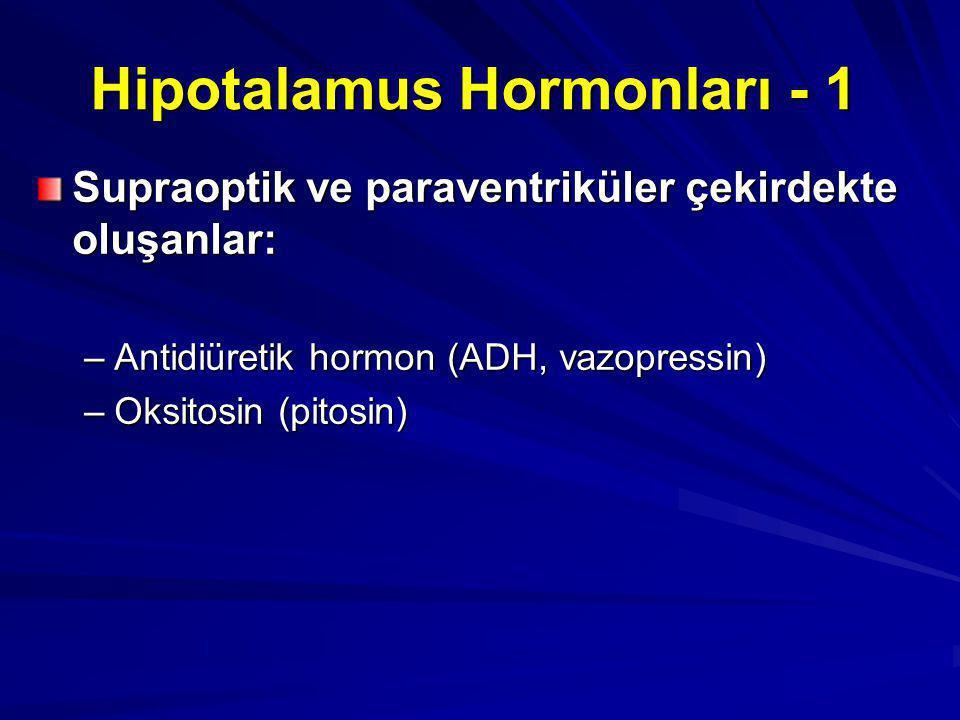 Hipotalamus Hormonları - 1 Supraoptik ve paraventriküler çekirdekte oluşanlar: –Antidiüretik hormon (ADH, vazopressin) –Oksitosin (pitosin)