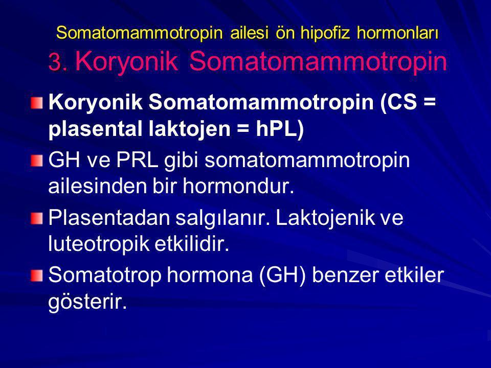 Somatomammotropin ailesi ön hipofiz hormonları 3.Somatomammotropin ailesi ön hipofiz hormonları 3.