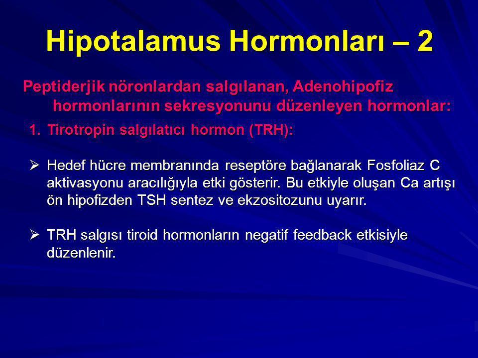 Hipotalamus Hormonları – 2 Peptiderjik nöronlardan salgılanan, Adenohipofiz hormonlarının sekresyonunu düzenleyen hormonlar: 1.Tirotropin salgılatıcı hormon (TRH):  Hedef hücre membranında reseptöre bağlanarak Fosfoliaz C aktivasyonu aracılığıyla etki gösterir.