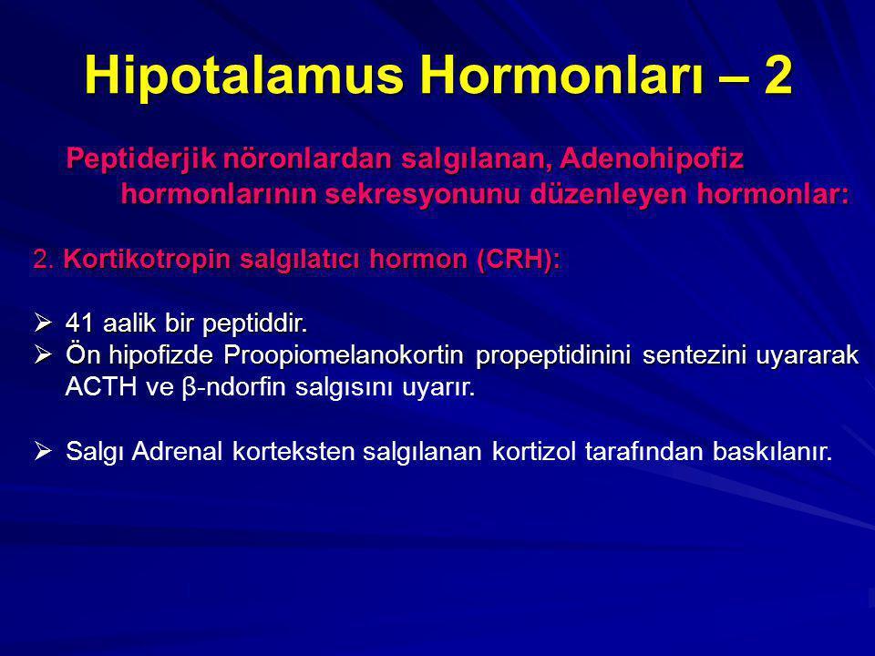 Hipotalamus Hormonları – 2 Peptiderjik nöronlardan salgılanan, Adenohipofiz hormonlarının sekresyonunu düzenleyen hormonlar: 2.