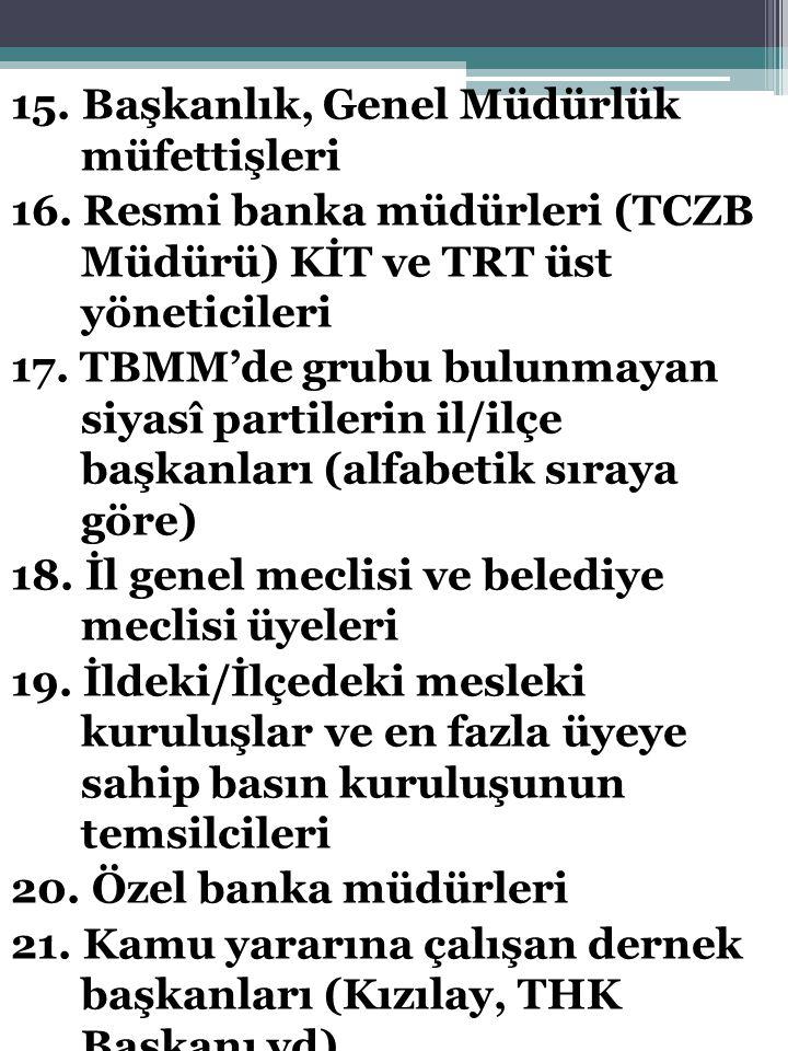 15. Başkanlık, Genel Müdürlük müfettişleri 16. Resmi banka müdürleri (TCZB Müdürü) KİT ve TRT üst yöneticileri 17. TBMM'de grubu bulunmayan siyasî par