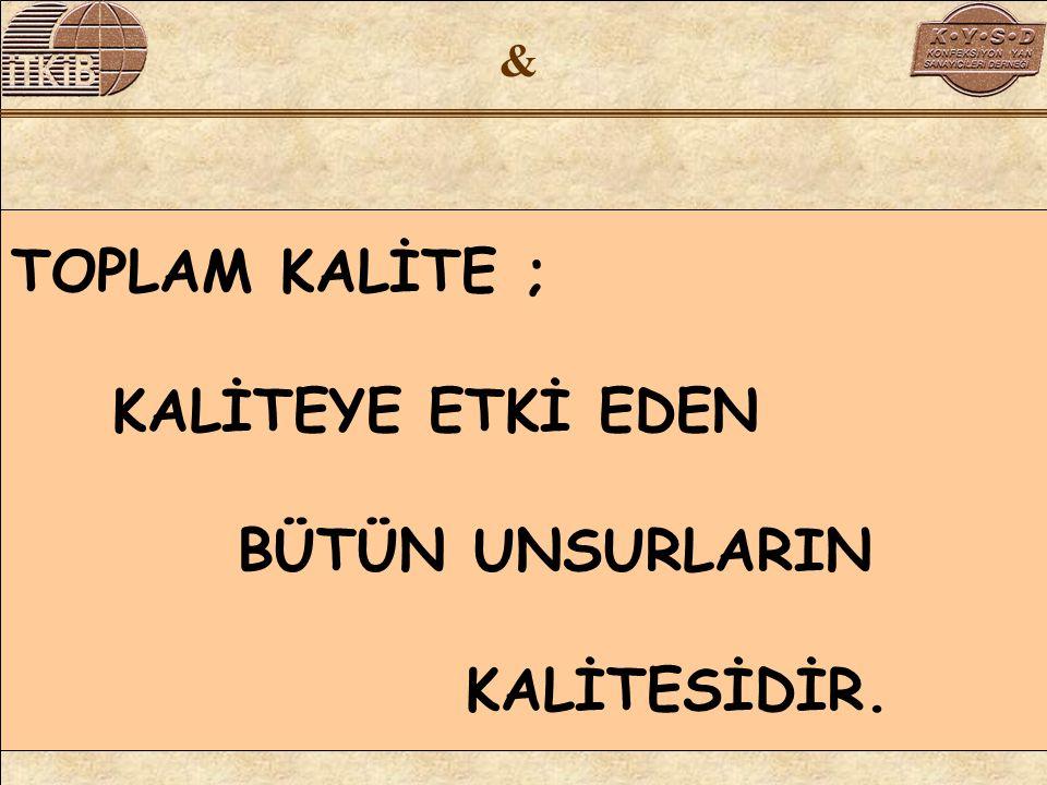 & TOPLAM KALİTE ; KALİTEYE ETKİ EDEN BÜTÜN UNSURLARIN KALİTESİDİR.