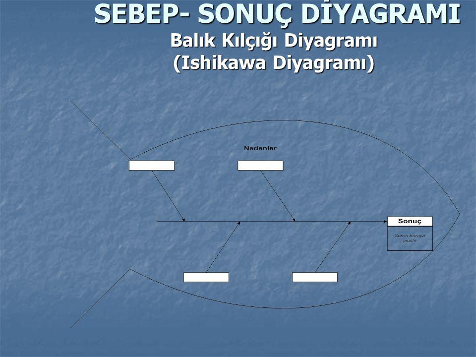 Problemin değerlendirilmesinde balık kılçığı şeması, neden-neden şemaları kullanılabilir.