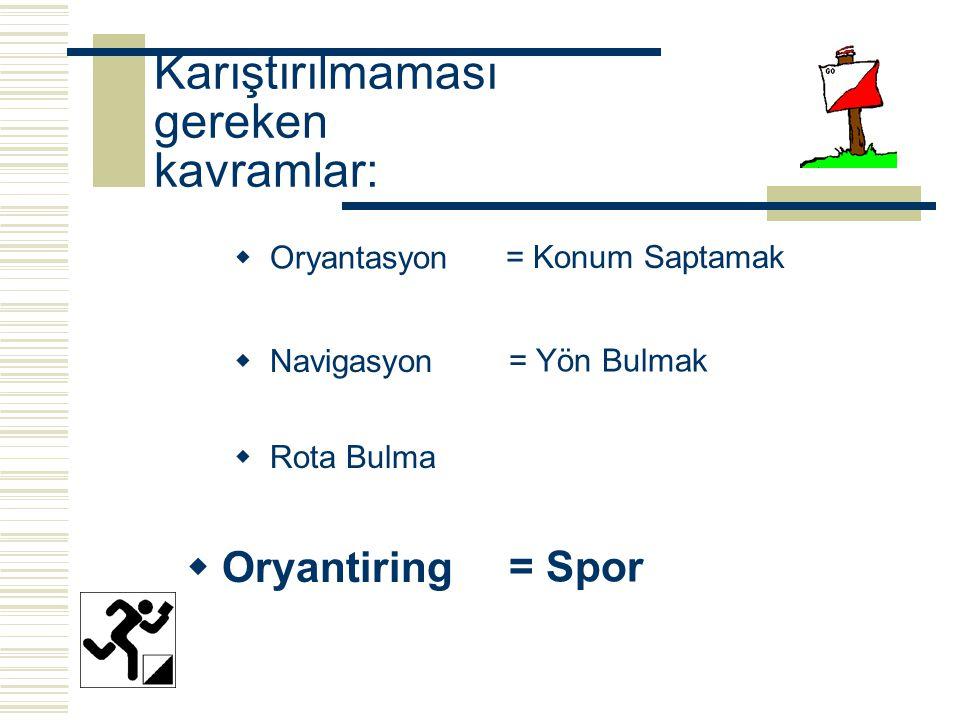 Karıştırılmaması gereken kavramlar:  Oryantasyon  Rota Bulma  Navigasyon  Oryantiring = Konum Saptamak = Yön Bulmak = Spor