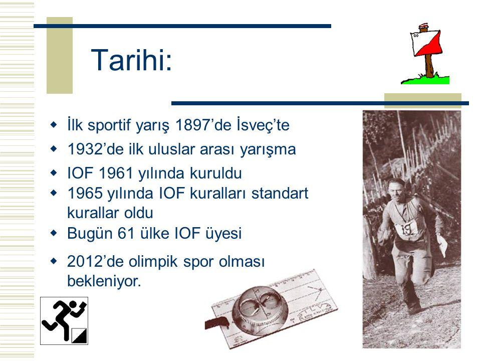 Tarihi:  İlk sportif yarış 1897'de İsveç'te  1932'de ilk uluslar arası yarışma  IOF 1961 yılında kuruldu  1965 yılında IOF kuralları standart kurallar oldu  Bugün 61 ülke IOF üyesi  2012'de olimpik spor olması bekleniyor.