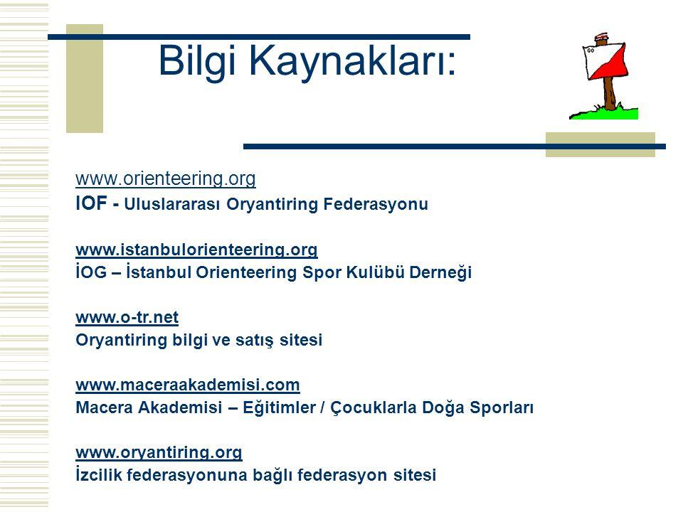 Bilgi Kaynakları: www.orienteering.org IOF - Uluslararası Oryantiring Federasyonu www.istanbulorienteering.org İOG – İstanbul Orienteering Spor Kulübü Derneği www.o-tr.net Oryantiring bilgi ve satış sitesi www.maceraakademisi.com Macera Akademisi – Eğitimler / Çocuklarla Doğa Sporları www.oryantiring.org İzcilik federasyonuna bağlı federasyon sitesi