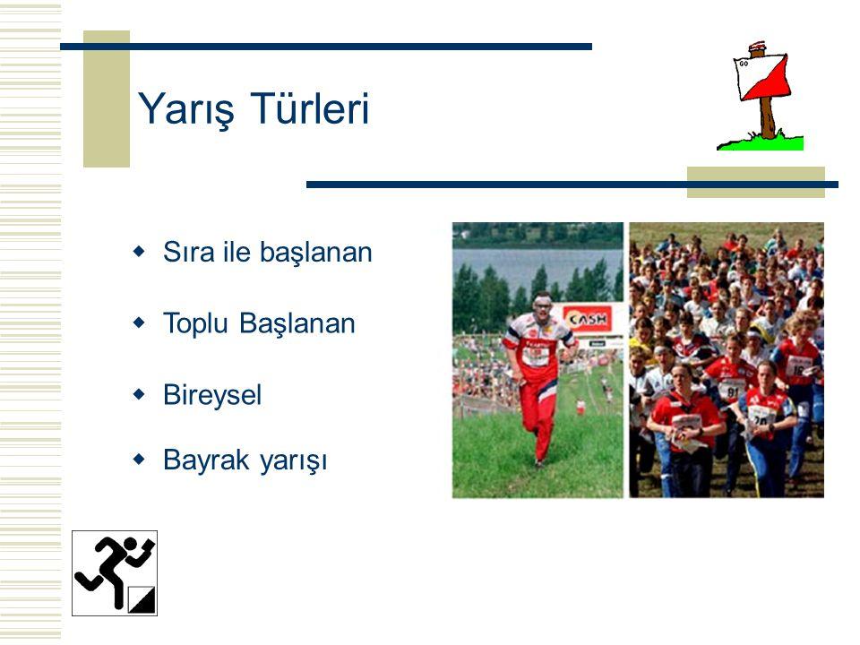 Yarış Türleri  Sıra ile başlanan  Bireysel  Toplu Başlanan  Bayrak yarışı