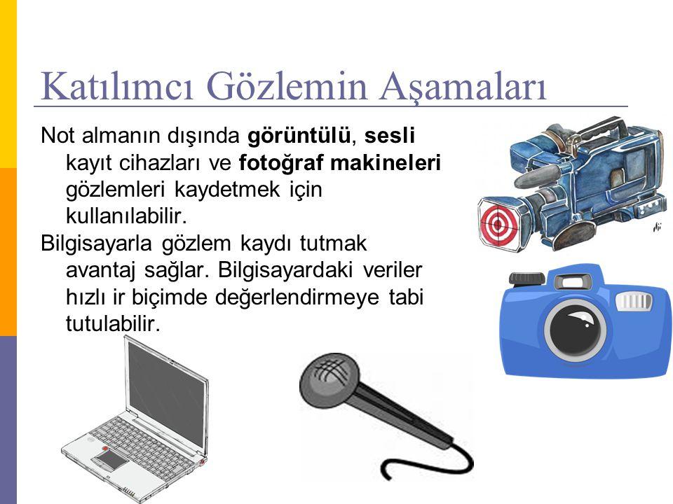 Katılımcı Gözlemin Aşamaları Not almanın dışında görüntülü, sesli kayıt cihazları ve fotoğraf makineleri gözlemleri kaydetmek için kullanılabilir. Bil