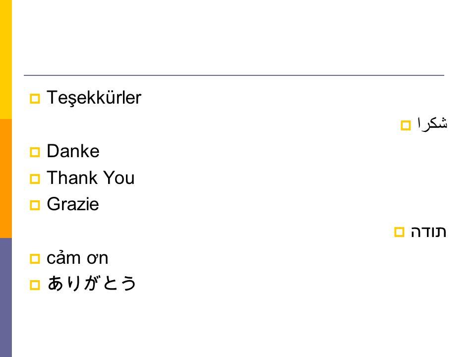  Teşekkürler  شكرا  Danke  Thank You  Grazie  תודה  cảm ơn  ありがとう