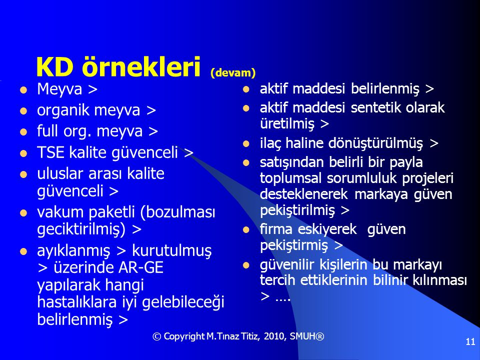 © Copyright M.Tınaz Titiz, 2010, SMUH® 11 KD örnekleri (devam)  Meyva >  organik meyva >  full org. meyva >  TSE kalite güvenceli >  uluslar aras