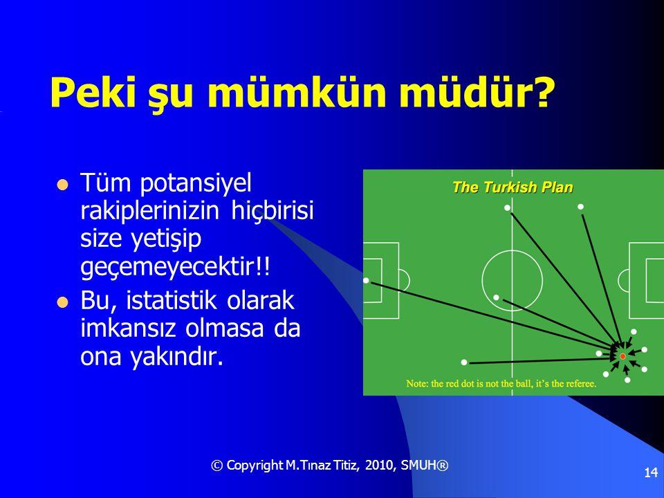 © Copyright M.Tınaz Titiz, 2010, SMUH® 14 Peki şu mümkün müdür?  Tüm potansiyel rakiplerinizin hiçbirisi size yetişip geçemeyecektir!!  Bu, istatist