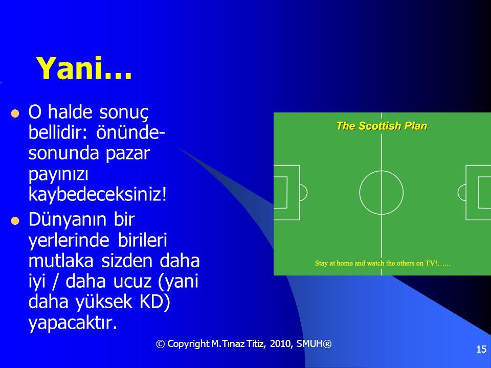 © Copyright M.Tınaz Titiz, 2010, SMUH® 15 Yani…  O halde sonuç bellidir: önünde- sonunda pazar payınızı kaybedeceksiniz!  Dünyanın bir yerlerinde bi