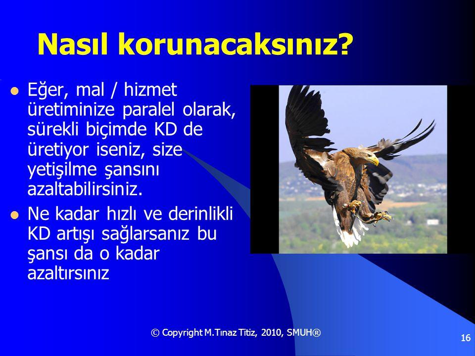 © Copyright M.Tınaz Titiz, 2010, SMUH® 16 Nasıl korunacaksınız?  Eğer, mal / hizmet üretiminize paralel olarak, sürekli biçimde KD de üretiyor iseniz