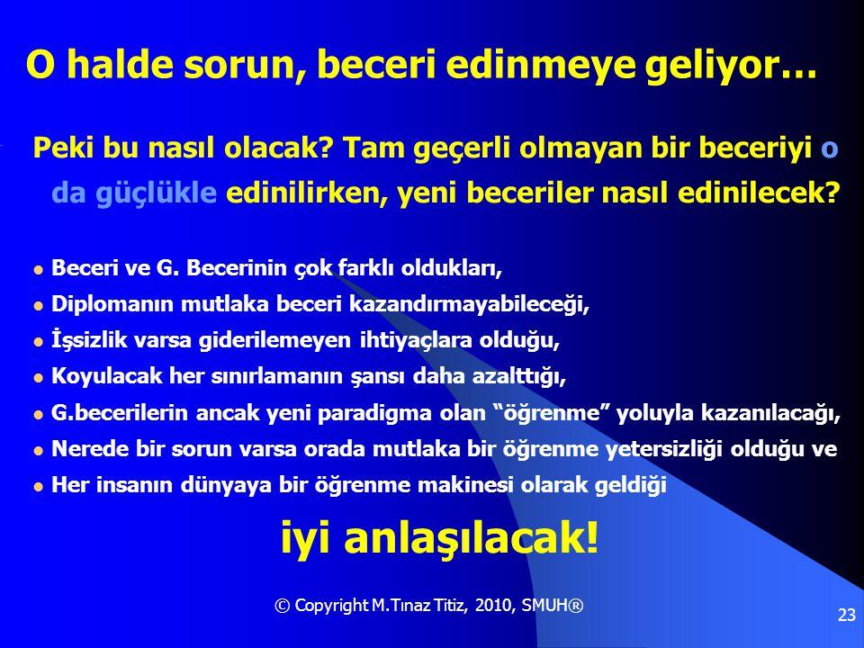 © Copyright M.Tınaz Titiz, 2010, SMUH® 23 O halde sorun, beceri edinmeye geliyor… Peki bu nasıl olacak? Tam geçerli olmayan bir beceriyi o da güçlükle